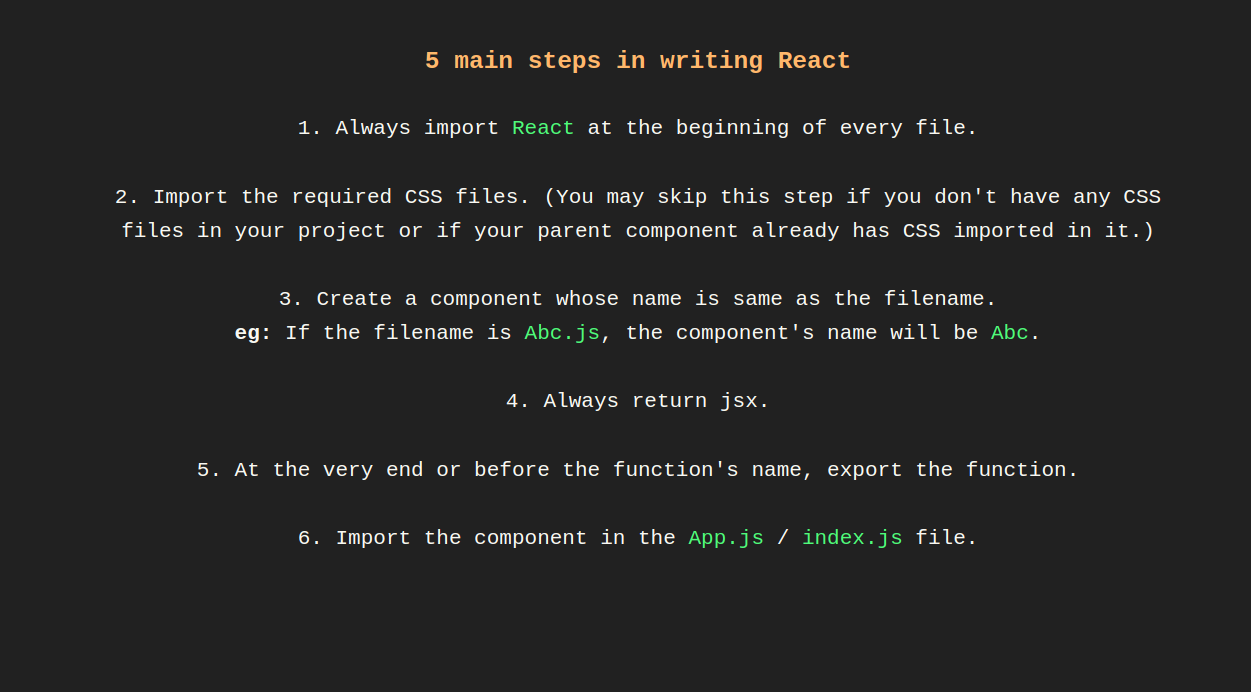 5 main steps in writing React